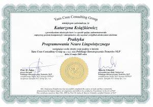 katarzyna ksiazkiewicz coach certyfikat praktyk nlp1