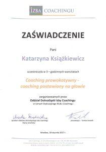 katarzyna ksiazkiewicz coach zaswiadczenie ukonczenia warsztatow coaching prowokatywny1