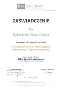 katarzyna ksiazkiewicz coach zaswiadczenie ukonczenia warsztatow zaawansowana praca z ograniczajacymi przekonaniami1